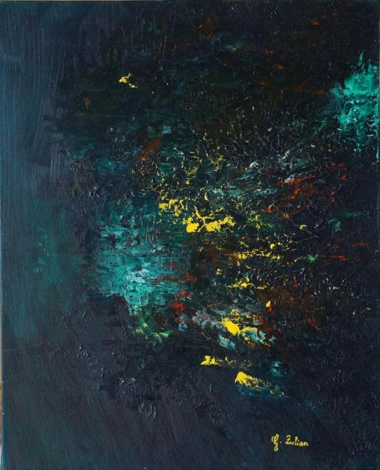 Au royaume des abysses - huile 41x33 cm