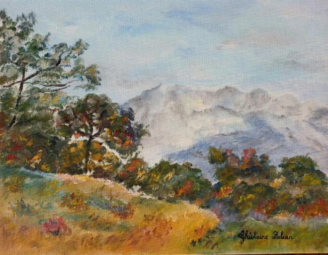 Balade en montagne - huile 39x31 cm