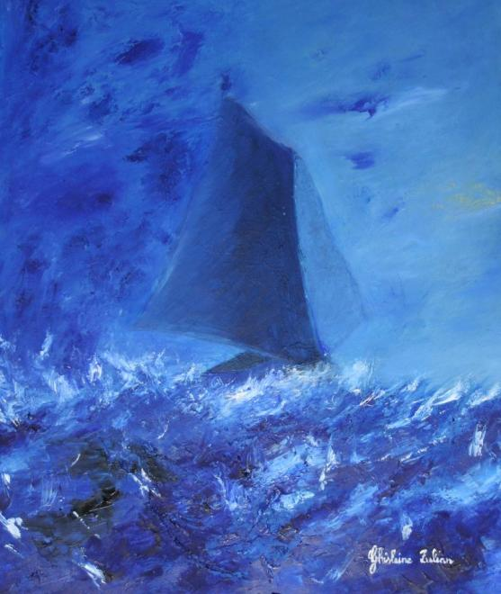 Bâteau bleu - huile 55x46 cm