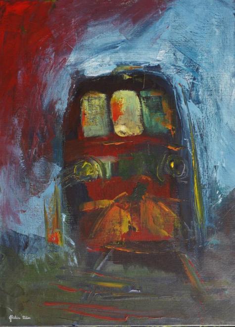 Train de nuit - acrylique 54x73 cm