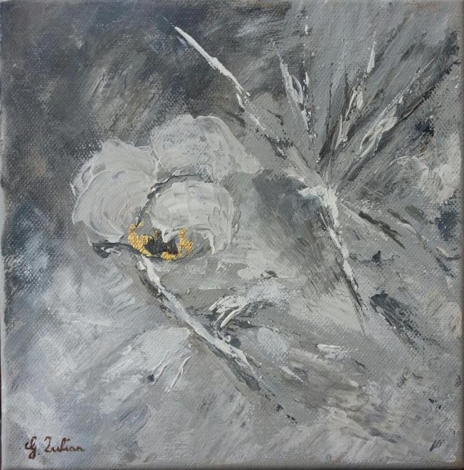 Fleur de neige - huile 20x20 cm