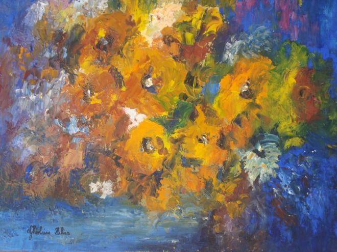 Flowers in blue - huile 46x38 cm