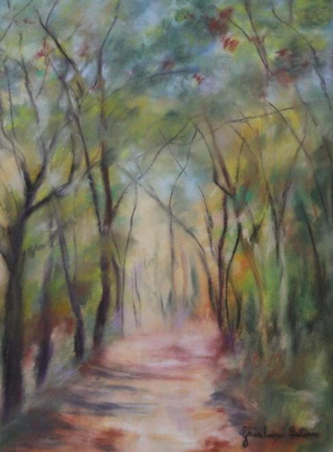 Promenade au bois - pastel 55x45 cm