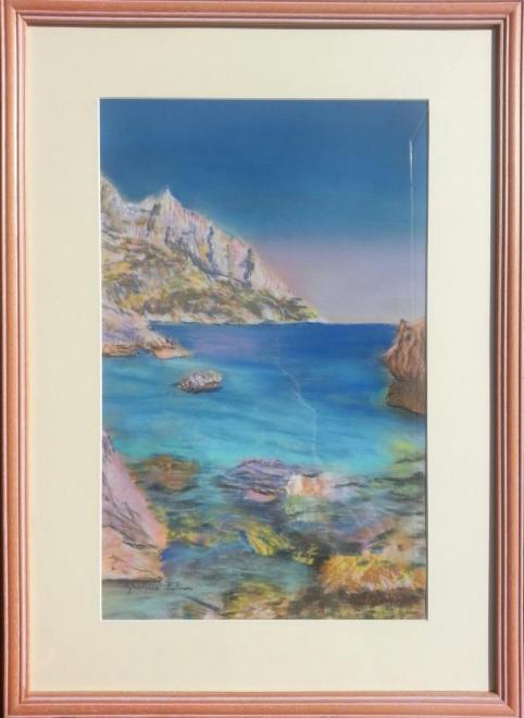 Reflets de Méditerranée - pastel 65x48 cm