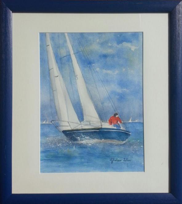 Rêverie en mer - aquarelle 57x51 cm