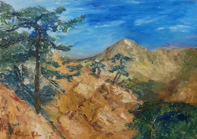 Rêverie en montagne 2 - huile 37x28 cm