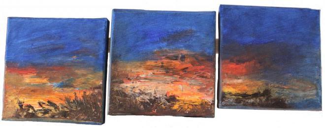 Triptyque - huile 15x15x15 cm